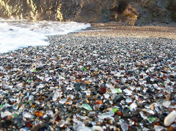 Here is some of the colorful glass and sand and pebbles on Glass Beach. (photos by Matthew Lee High, used courtesy of Creative Commons)