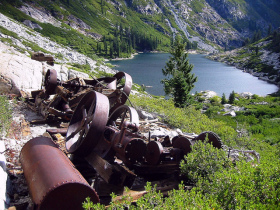 Rusted steam-powere winch above Emerald Lake (both photos by Gary Robertson)