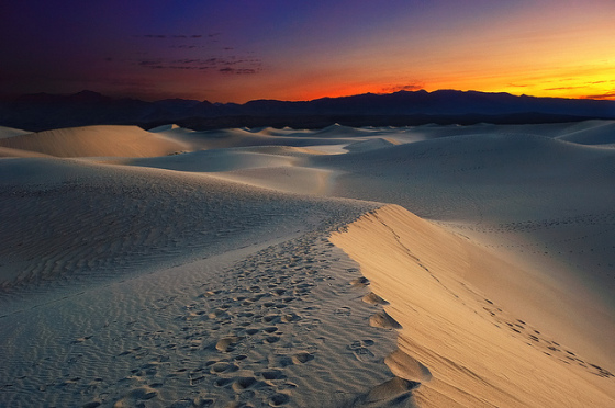 Sunrise over Mesquite Dunes, Death Valley National Park (photo by Andrew Mace)