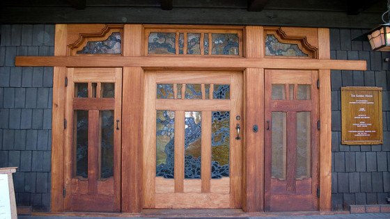The Louis Tiffany stained glass in the handcrafted oak doors of the Gamble House (photo by John Lopez)