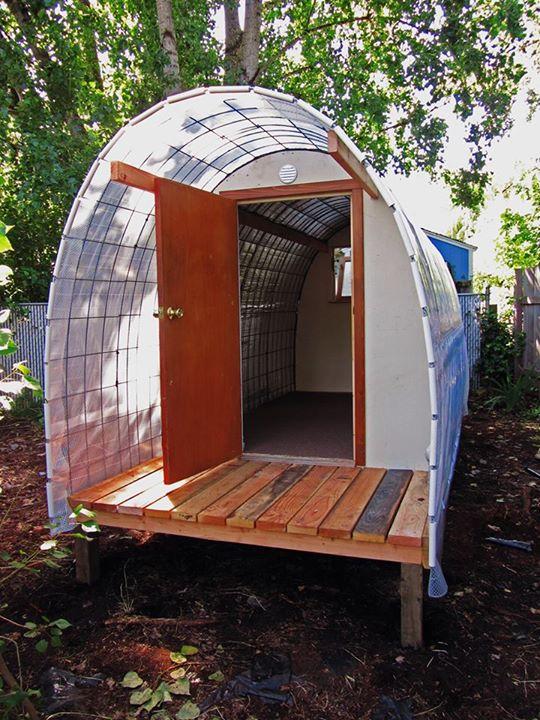 a Conestoga hut at Opportunity Village