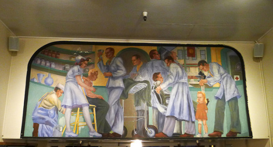 Mural across from the reception desk at Fisherman's Wharf Hostel (photo by glennbphoto)